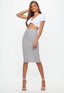 Read more about White ribbed stripe bodycon midi skirt pink