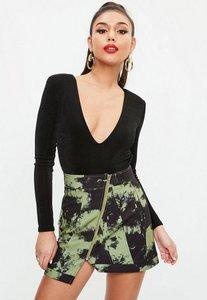 Read more about Khaki camo print zip front mini skirt beige