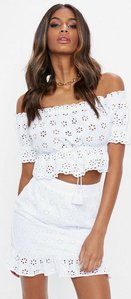 Read more about White broderie wrap frill mini skirt white