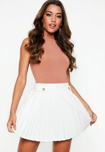 Read more about White pleated military button mini skirt white