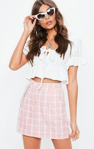 Read more about Pink gingham chain detail mini skirt pink