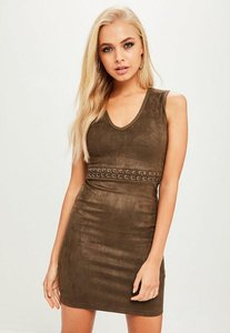 Read more about Khaki lace up waist faux suede dress beige