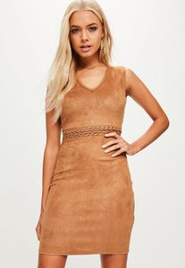 Read more about Camel lace up waist faux suede dress brown