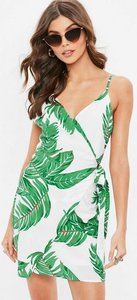 Read more about White palm wrap front mini dress green