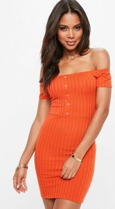 Read more about Orange button front ribbed bardot mini dress orange