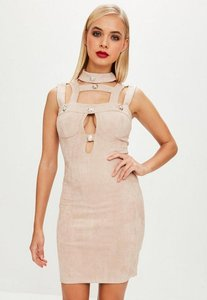 Read more about Beige faux suede bodycon button dress beige