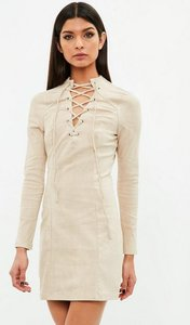 Read more about Beige suedette dress tie front long sleeve beige