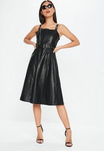 Read more about Black faux leather belted dress black