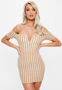 Read more about Camel v bar stripe bardot dress beige
