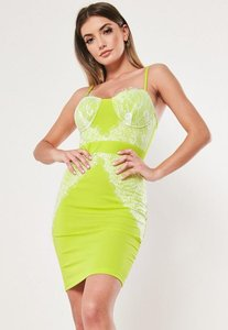 Read more about Lime lace insert bodycon mini dress green