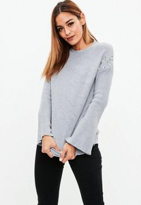 Read more about Grey pearl embellished sleeve knit jumper grey