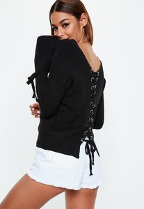 Read more about Black tied cuff lace up knitted jumper black