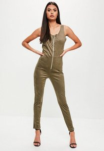 Read more about Khaki faux suede zip up jumpsuit beige