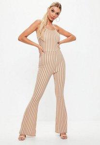 Read more about Camel stripe flare leg jumpsuit beige