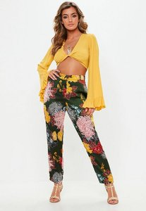 Read more about Khaki floral print pyjama style trousers green