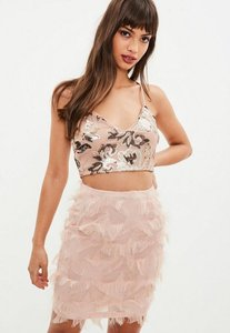 Read more about Nude fringe trim skirt pink