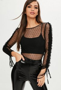 Read more about Black mesh frill long sleeve top black