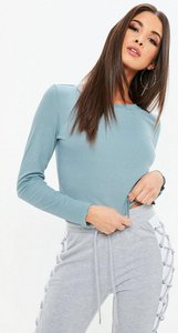 Read more about Blue fluted hem ribbed crew neck t-shirt blue