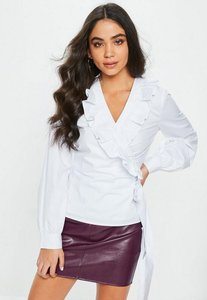 Read more about White plunge front frill wrap shirt white