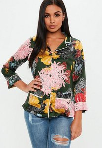 Read more about Khaki satin floral print pyjama style shirt green