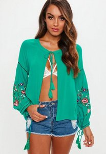 Read more about Green floral embroidered sleeve tie front blouse blue