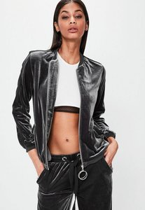 Read more about Londunn missguided grey velour bomber jacket grey