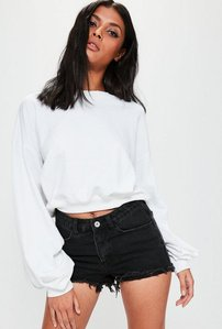 Read more about White cropped ruched sleeve sweatshirt top white