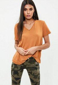 Read more about Orange v neck boyfriend t-shirt orange