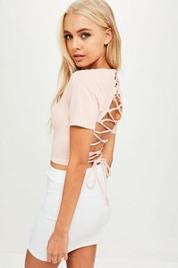 Read more about Pink tie back cropped top beige