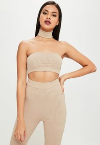 Read more about Carli bybel x missguided nude ribbed bandeau top grey