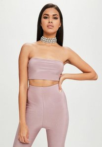 Read more about Carli bybel x missguided purple slinky bandeau top purple