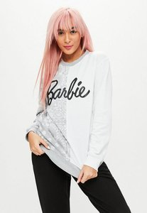 Read more about Barbie x missguided grey spliced long sleeve jumper grey