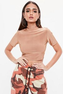 Read more about Nude short sleeve crop top beige