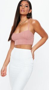 Read more about Pink bandage ribbed cupped bralet beige