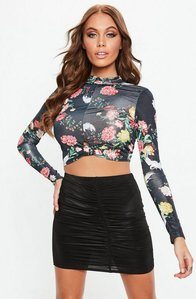 Read more about Black printed knot front turtleneck slinky crop top black