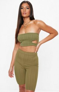 Read more about Khaki ribbed bandeau crop top beige