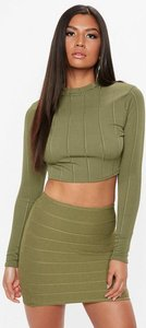 Read more about Khaki ribbed turtle neck crop top beige