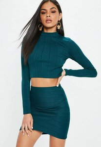 Read more about Green ribbed turtle neck top blue