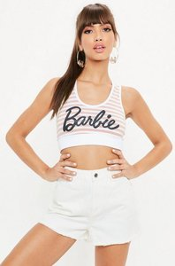 Read more about Barbie x missguided pink stripe bralet pink