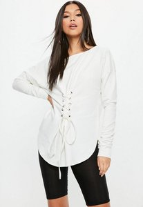 Read more about White corset waist lace up front tunic cream