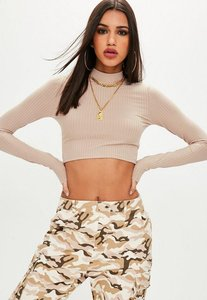 Read more about Nude rib long sleeve crop top beige
