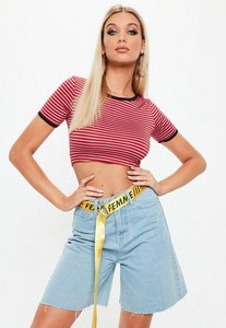 Read more about Red striped ring neck crop top red