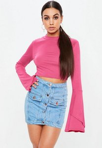 Read more about Pink high neck flared sleeve crop top pink