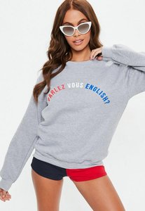 Read more about Grey parlez vous english slogan sweatshirt grey