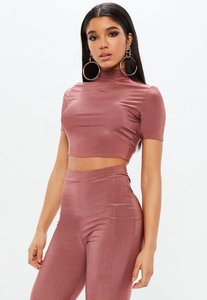 Read more about Pink slinky short sleeve turtle neck crop top pink
