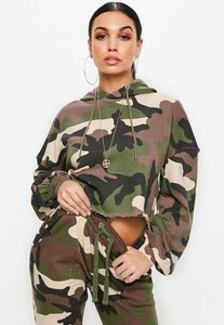 Read more about Khaki extreme oversized camo cropped hoodie beige