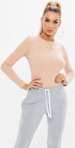 Read more about Pink crew neck ribbed top beige