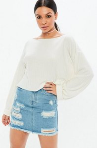 Read more about Cream long sleeve ribbed boxy crop top white