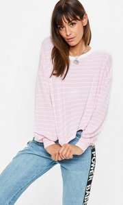 Read more about Pink striped drop shoulder boxy top pink