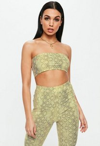 Read more about Green snake print bandeau bralet yellow